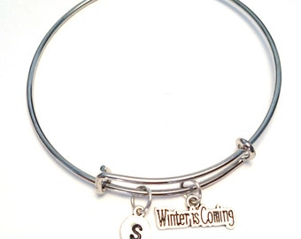 Winter is Coming Bangle Bracelet, Adjustable Expandable Bangle Bracelet, Winter is Coming Charm, Winter is Coming Pendant, Winter Jewelry