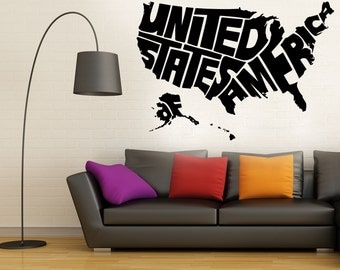 Usa Map Wall Decal Etsy - Us road map wall decals