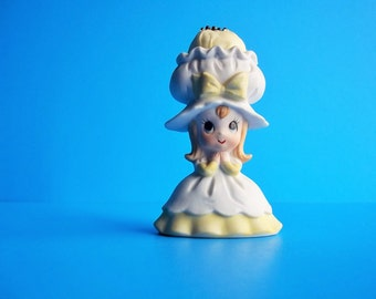 """Girl Porcelain 4"""" Lefton Figurine, Yellow & White Vintage Pincushion, Girl with Bonnet, For Seamstress, Retro Sewing Room"""