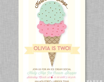 Ice Cream Social Birthday Party Invitation