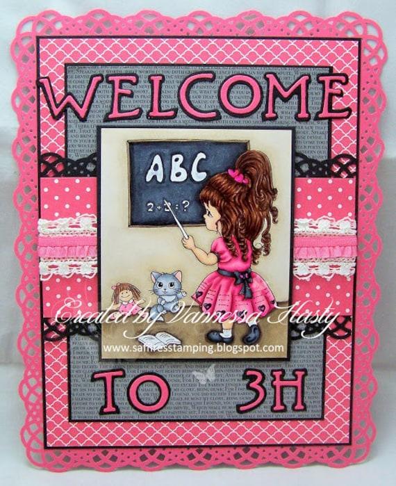 Digi Stamps, Scrapbooking printable, Digital stamp, Girl stamps, Coloring pages, Doll stamps Line art. Emily - little teacher