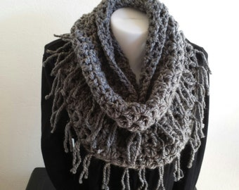 Infinity Scarf with Fringe Crochet Bulky Scarf Charcoal Gray Winter Accessories