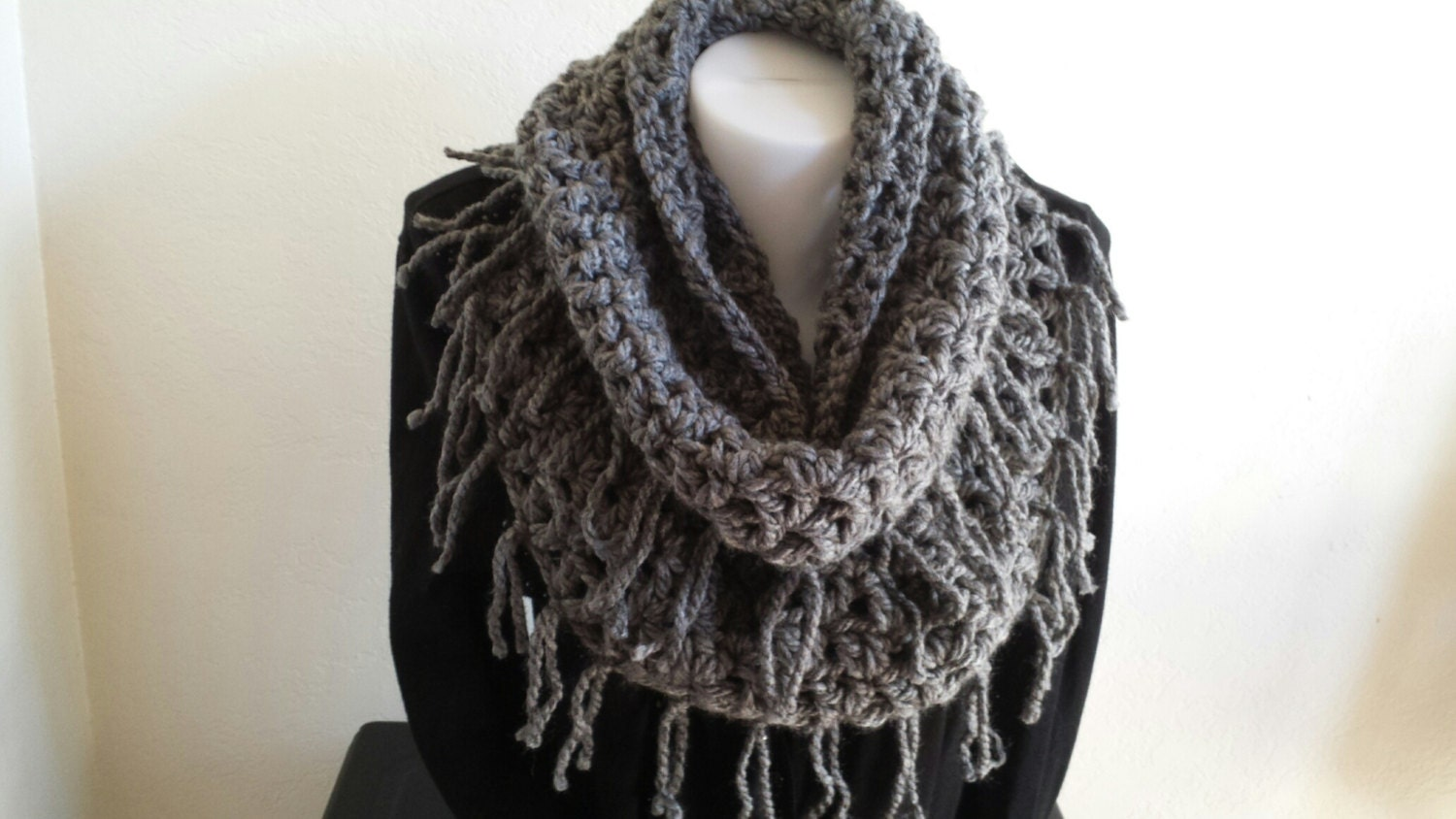 infinity scarf with fringe crochet bulky scarf charcoal gray