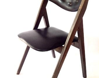 Handsome Black Upholstered Wood Vintage Mid Century Modern Tufted Folding Chair