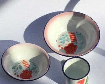 Enamel bowl and cup with flowers