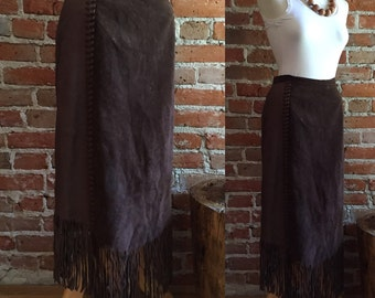 Vintage Leather & Suede Fringe Skirt, Chocolate Brown, Medium