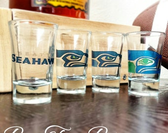 Seattle Seahawks Shot Glasses | Football | NFL | Gifts for him | Vintage