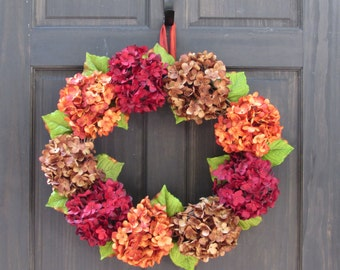 Fall Wreath for Front Door, Wreath for Fall, Hydrangea Wreath for Thanksgiving, Wreath for Door, Autumn Wreath, Fall Front Door Wreath