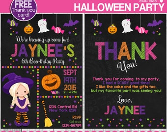 Witch invitation, Halloween Invitation, Little girl invitation, Halloween Party invitation, Halloween Bash + FREE THANK YOU Card