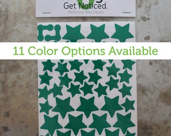 Stars Velosight™ Reflective Bicycle Decals and Bike Helmet Stickers - 11 color options to match bike accessories