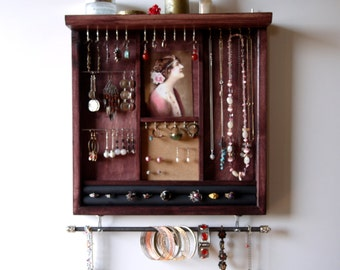 Jewelry storage. earrings display. necklace holder. Earring storage. Mahogany stain display with shelf. wooden wall mounted jewelry holder.