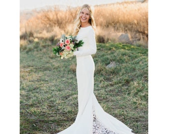 """Janay Marie - """"Brittany"""" Gown - Long Sleeved Knit Wedding Dress with Lace Godet Train"""