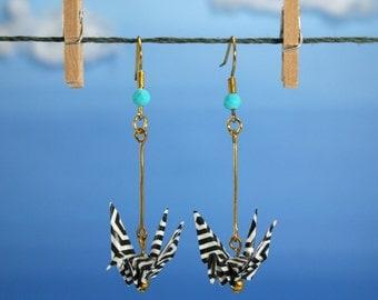 One Flew Over Origami Crane Earrings
