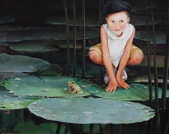 Greeting Card, Birthday Card, Blank Card, Lilly pads Art Card, Child's Birthday Card, Leap Year, Frog