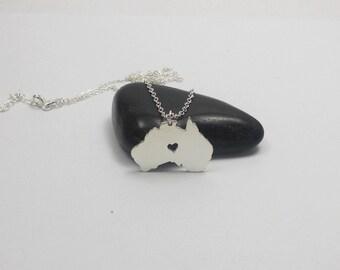 Silver Australia Necklace ,Australia Country Necklace, Any Country Necklace Available,Aussie Jewelry,Australia Pendant with Cut Out Heart