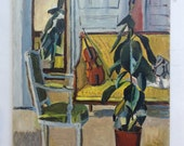 Rubber Plant and Violin - Original Oil Painting by Hervé LE BOURDELLÈS - Twentieth Century