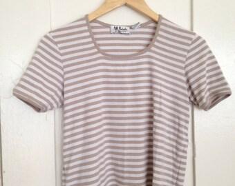 vintage striped top / beige tee / 90s / m