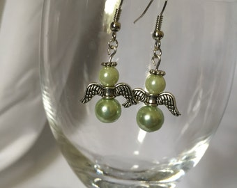 """3/4"""" Glass Pearls and Silver Angel Dangle Earrings"""