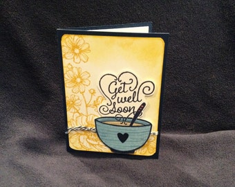 Get Well Soon card from Get Well Soup with Stampin Up.  Flowers and a cup of soup.