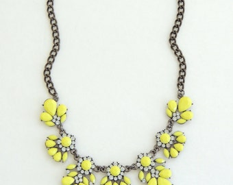 Statement necklace, Bib necklace, Neon yellow necklace, Flower necklace