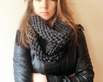 Bulky Knit Cowl in Dark Gray