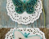 Butterfly Brooch Embroidery Butterfly Jewelry Emerald Brooch Emerald Butterfly Brooch Bead Embroidered Jewelry  Butterfly Brooch