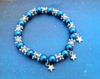 Star Bracelet, Celestial Jewelry, Star Charm Bracelet, Night Sky Bracelet, Blue Bracelet, Nature Jewellery, Crystal Bracelet, Galaxy Jewelry
