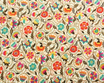 "Le Temps Viendra A Liberty Fabric scrap tana lawn 10"" x 10"" sand brown red pink blue orange yellow (25,4 cm x 25,4 cm) The Weavers Mill"