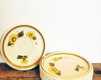 Set of six vintage Mikasa saucers. Perfect plates of a mismatched dish set retro kitchen!