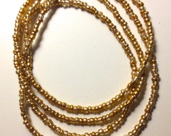 Single Wrap Champagne Beaded Necklace
