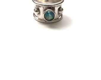 Size 8 - Sterling Silver Gem Band Ring, Wide Sterling Band, Wide Band Gem Ring, Modernist Bold