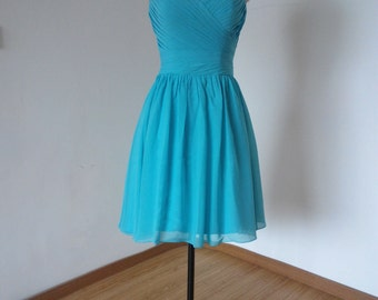 Sweetheart Turquoise Blue Chiffon Short Bridesmaid Dress