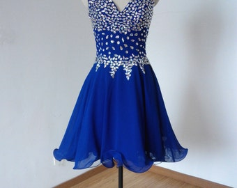 Cheap Beaded Straps Royal Blue Chiffon Short Homecoming Dress, Prom Dress, Graduation Dress