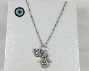 Hamsa - Evil Eye Necklace - Nazar Protection - Hand of Fatima - Turkish Evil Eye Protection - Simple Necklace - Perfect Gift