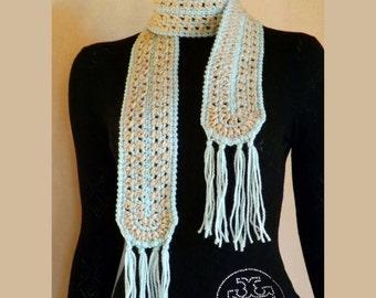 Knitted scarf, crochet scarf acrylic yarn, original scarf