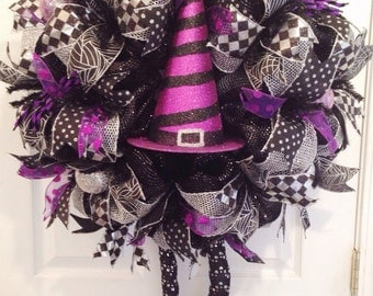 Halloween Wreath Witch Wreath with Legs Deco Mesh Wreath Halloween Decor **MADE TO ORDER**