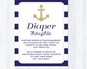 Diaper thoughts nautical baby shower sign, navy blue and gold glitter, late night diapers game, printable, INSTANT DOWNLOAD