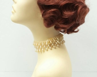1920's Style Short Bright Auburn Finger Wave Wig. Vintage Style Costume Wig. [02-12-Rosie-130]