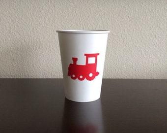 Train Cups - Locomotive Birthday - Train Conductor Party - Choo Choo Birthday - Transport Cups - Train Track Cup - Party Cups - Vinyl Decals
