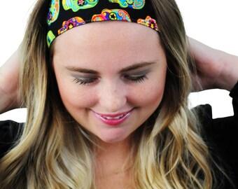 Multicolor Sugar Skulls Over Black, Day of the Dead Fabric Headband, Hairband, Fashion Headband, Boho Hair Accessory by Simply Martha