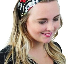 Skulls and Roses, Day of the Dead Headband, Fashion Headband Boho Headband Headwrap Headwear Hair accessory Turban Headband By Simply Martha
