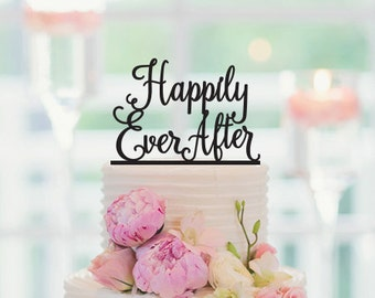 Happily ever after, Wedding Cake Topper, Anniversary Cake Topper, 024