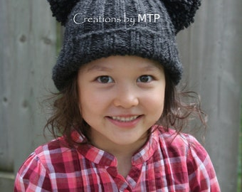 PDF KNITTING PATTERN - Knit Ribbed Hat with Big Pom-Pom Ears