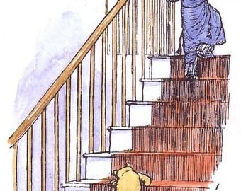 1986 winnie the pooh print winnie following christopher robin upstairs by e h shepard