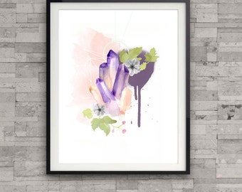 Crystal watercolor art print, purple crystal cluster, home wall decor, modern watercolor print,geometric illustration, floral illustration,