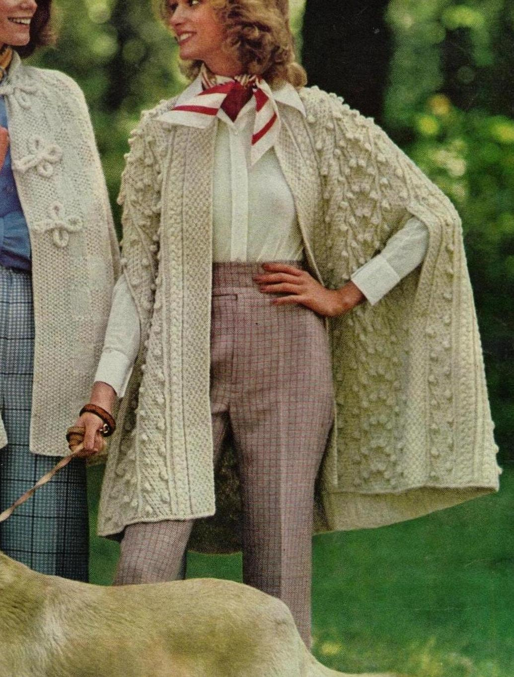 Knitting Pattern Cape Arm Slits : Instant Download PDF A Vintage Knitting Pattern to make A Ladies No Button Ri...