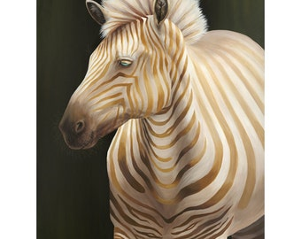"Zebra Fine Art Original Acrylic Painting | ""Identity"" (36x48inches) By Magda Opoka | Wildlife Art | Realism | Animal"