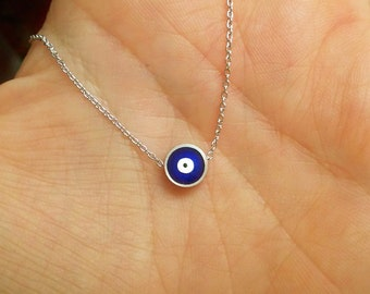 Silver Necklace with Evil Eye Bead, Dark Blue Evil Eye Jewelry, Protection Jewellery, Friend Gift, Silver Nazar Jewelry / N260a