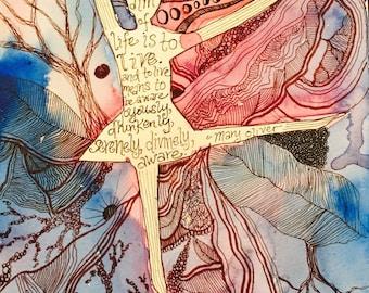 Watercolor and Pen Dancer Print