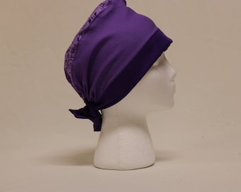 Purple Shades with Flowers and Crosses Surgical Scrub Cap Chemo Hat